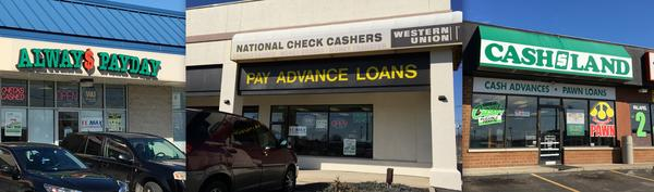 A few of the payday lenders operating within a mile of each other in northeast Columbus.