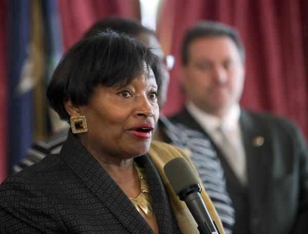 Senate Democratic Conference Leader Andrea Stewart-Cousins, D-Yonkers, speaks during a news conference at the Capitol in Albany, N.Y., in February.