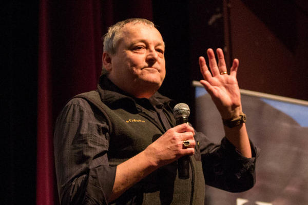 "<p>Bend said goodbye to ""Oregon Field Guide"" host Steve Amen, who is retiring after 28 years on the show. Amen addressed the crowd before the show at the Tower Theatre, Friday, March 17, 2017 in Bend, Oregon.</p>"
