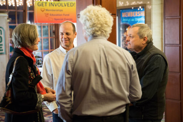 "<p>""Oregon Field Guide's"" Ed Jahn and Steve Amen meet with members in the Tower Theatre lobby in Bend, Oregon, Friday, March 17, 2017, before the show.</p>"