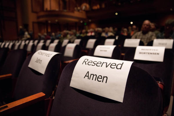 "<p>Is this seat taken? Reserved seat for ""Oregon Field Guide"" host Steve Amen inside the Tower Theatre in Bend, Oregon, Friday, March 17, 2017.</p>"