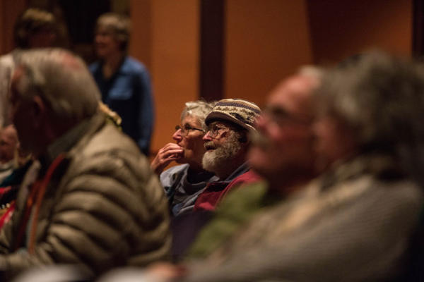 "<p>OPB members watch ""Oregon Field Guide"" footage at the Tower Theatre in Bend, Oregon, Friday, March 17, 2017.</p>"
