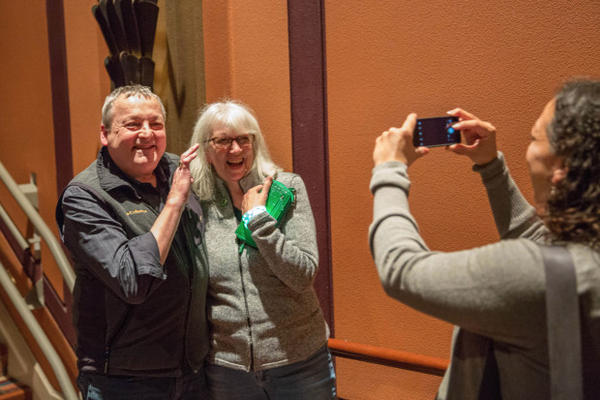 "<p>OPB members posed for photos with ""Oregon Field Guide"" host Steve Amen at the Tower Theatre in Bend, Oregon, Friday, March 17, 2017.</p>"