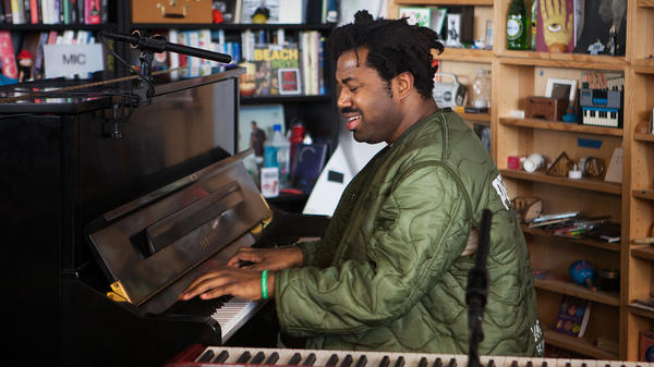 Sampha performs a Tiny Desk Concert on Feb. 7, 2017. (Claire Harbage/NPR)