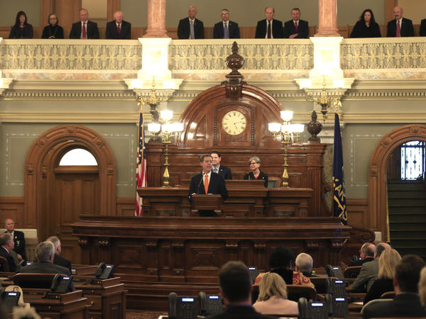 Gov. Sam Brownback delivers his state of the state address to a joint session of the Kansas legislature in Topeka, Kan., Tuesday, Jan. 10, 2017. Lawmakers are considering whether to expand Medicaid, which Brownback opposes.