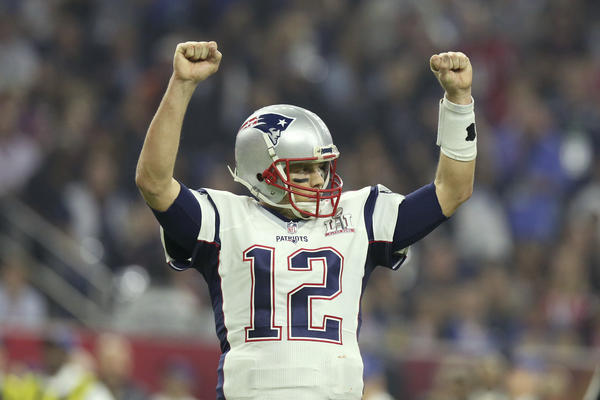 New England Patriots quarterback Tom Brady celebrates a touchdown against the Atlanta Falcons during Super Bowl 51 in Houston.