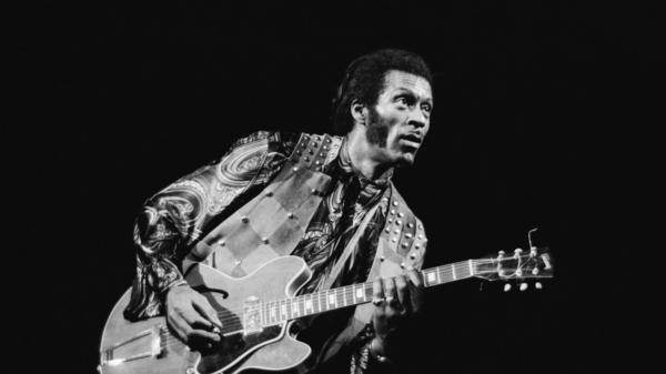 Chuck Berry performs onstage at London's Rainbow Theatre in 1973.