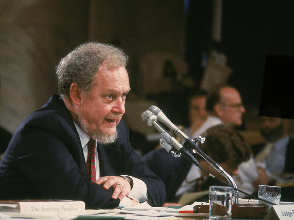 Supreme Court nominee Judge Robert Bork testifies on the fourth day of his Supreme Court confirmation hearing in Washington, DC, in 1987. Nominated by President Reagan, Bork was ultimately rejected by the Senate.