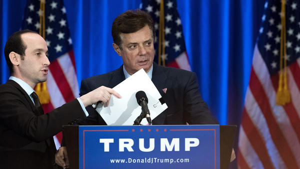 Former Donald Trump campaign chairman Paul Manafort, seen here last June, was paid millions of dollars to advance a pro-Russian agenda, the AP reports.