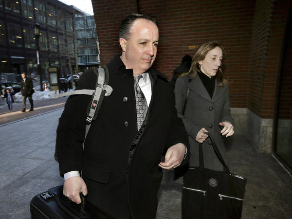 Barry Cadden, center, an owner of the New England Compounding Center, was acquitted of 25 counts of second-degree murder of people who received tainted steroids manufactured by the pharmacy. He was found guilty of racketeering and mail fraud. Here, Cadden is shown arriving at the federal courthouse last week.