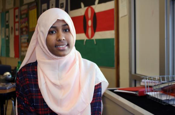 Isra Mohamud, 18, is a member of Fort Morgan's small East African population, many members of which work at the local meatpacking plant. (Luke Runyon/Harvest Public Media)