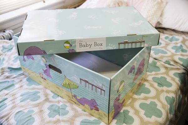 Displayed at the home of Dolores Peterson is a box that can be uses as a crib in Camden, N.J., Monday, March 6, 2017. New Jersey became the first state to send newborn babies and their parents home with a box that doubles as a crib and full of necessities, with the aim of cutting back on sudden infant death syndrome. (Matt Rourke/AP)