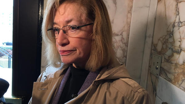 Urbana Mayor Laurel Prussing spoke with reporters in January after the Illinois Supreme Court heard a case over whether Carle Hospital must pay property taxes.