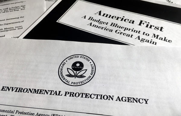 <p>A portion of President Donald Trump's first proposed budget, focusing on the Environmental Protection Agency, and released by the Office of Management and Budget, is photographed in Washington, Wednesday, March 15, 2017. </p>