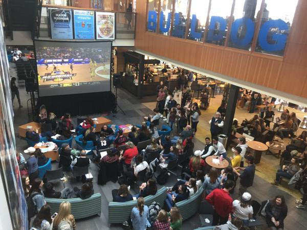 Hundreds of fans, students and spectators gathered in the Hemmingson Center on the campus of Gonzaga University to watch the Bulldogs take on West Virginia University's Mountaineers Thursday night.
