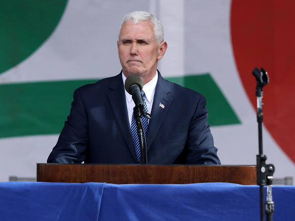 Vice President Mike Pence is seen at a rally in January in Washington, D.C., on the National Mall before the start of the 44th annual March for Life.