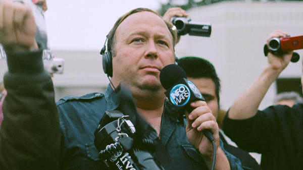 Alex Jones at a protest in Dallas in 2014.