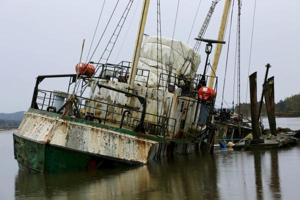 <p>A former Antarctic research vessel, Hero, sank in the Palix River near Willapa Bay. The ship has been moored up at the dock for the past 10 years and has been deteriorating over time.</p>