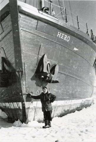 <p>Hero Captain Pieter Lenie poses with the boat in particularly icy conditions in December 1977.</p>