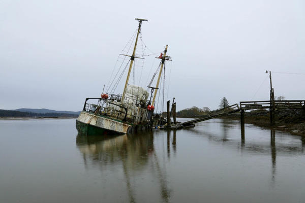 <p>A former Antarctic research vessel, Hero, sank in the Palix River near Washington's Willapa Bay.</p>