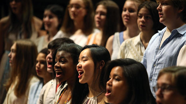 Members of the Brooklyn Youth Chorus perform in Bryce Dessner's <em>Black Mountain Songs</em> at the Brooklyn Academy of Music.
