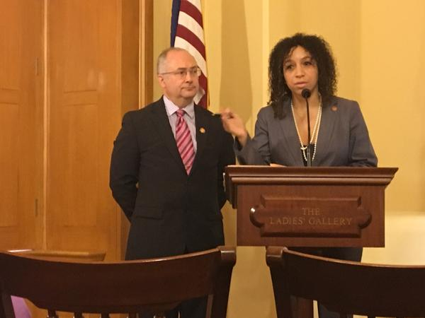 Reps. Kent Smith (D-Euclid) and Janine Boyd (D-Cleveland Heights)