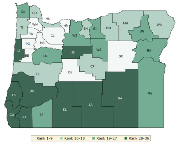 <p>This graphic shows Oregon counties ranked by how long people live on average and their quality of life. The data was compiled by the Robert Wood Johnson Foundation and the University of Wisconsin.</p>