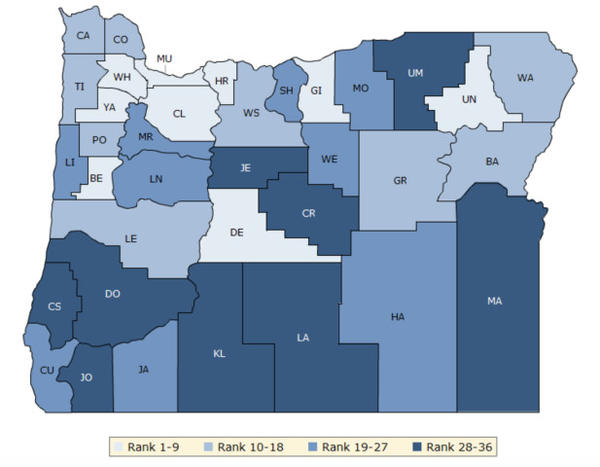 <p>This graphic shows Oregon counties ranked by health factors like obesity, smoking rate and average activity level, as well as availability of health care facilities. The data was compiled by the Robert Wood Johnson Foundation and the University of Wisconsin.</p>