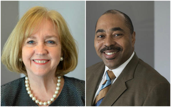 Democrat Lyda Krewson (left) and Republican Andrew Jones (right) candidates for St. Louis mayor in April.