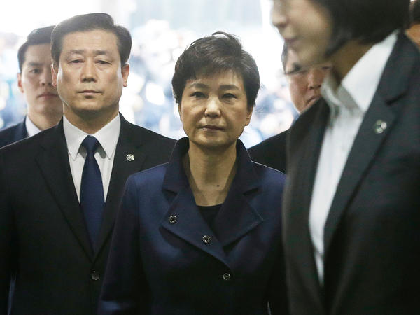 Former South Korean President Park Geun-hye arrives for questioning at the Seoul Central District Court on Thursday.