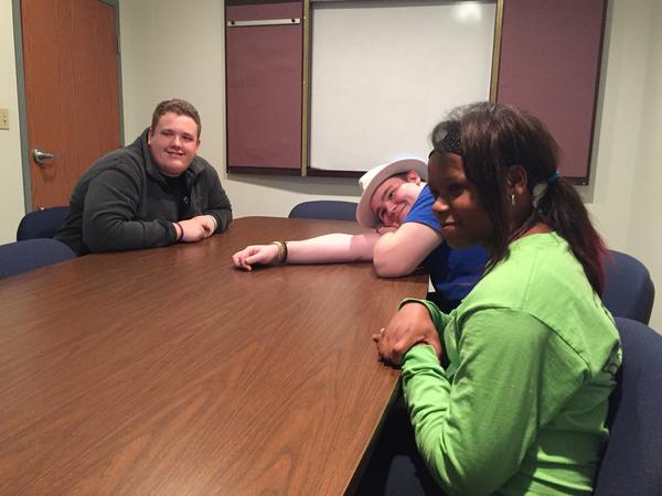 Ben Kellar (left), Noah Pengel and Destiny Reed are high school sophomores who helped make opioid awareness PSAs for Project PANDA.
