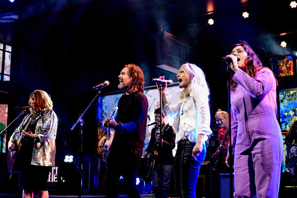 "Broken Social Scene performs ""Halfway Home"" on <em>The Late Show With Stephen Colbert</em>."