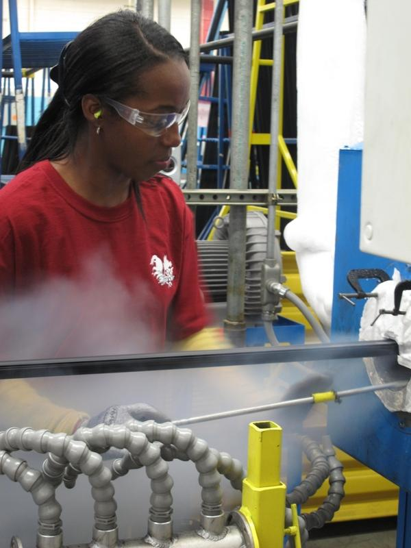 "<p>Ida Rodgers is an extruder technician at Cooper Standard. Two years ago, the company filed for bankruptcy, but with state tax breaks, it was able to expand this year. <a href=""javascript://seamus.npr.org""></a></p>"