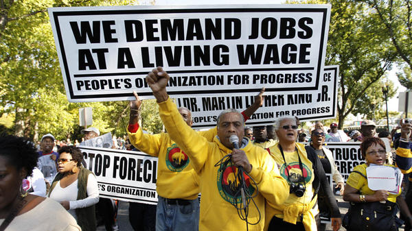 <p>Demonstrators demand easier access to jobs as they march in Washington, D.C., on Saturday.</p>