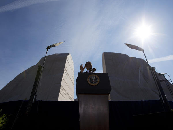 "<p>At the dedication of the memorial to Dr. Martin Luther King Jr. in Washington on Sunday, President Obama said the slain civil rights leader made the Union ""more perfect.""</p>"