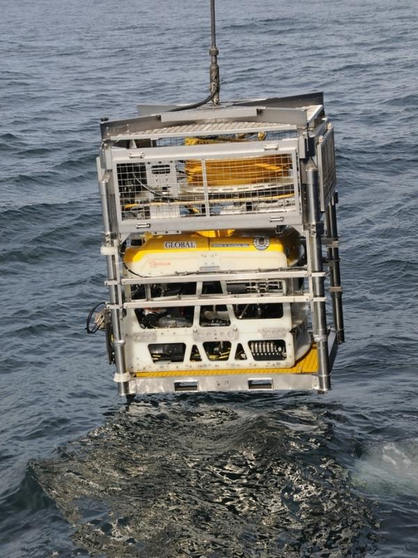 <p>An unmanned ROV (remotely operated vehicle) is launched 900 feet underwater to study the wreckage of the SS Montebello. </p>
