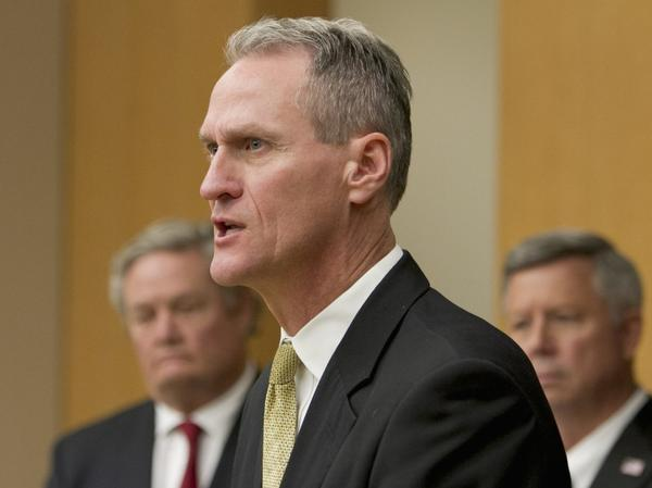 <p>South Dakota Gov. Dennis Daugaard, seen here at a news conference in October, spent seven years in leadership positions at Children's Home Society before becoming the state's governor.</p>