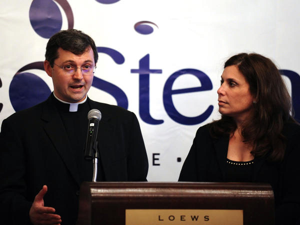 <p>Father Tomasz Trafny of the Vatican's Pontifical Council for Culture and Dr. Robin Smith, the CEO of NeoStem, last year announced a partnership to explore adult stem cell research. </p>