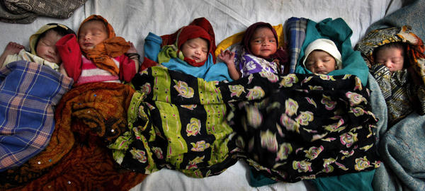 <p>Newborns lie together at a district women's hospital in Allahabad, in India's most populous state of Uttar Pradesh. Fifty-one babies are born in India every minute.</p>