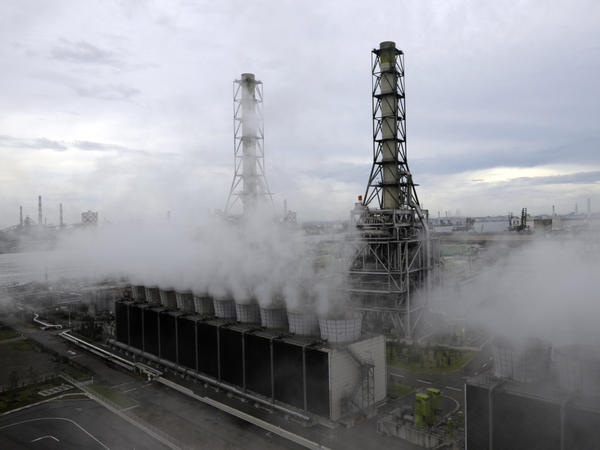 Steam rises from the Kawasaki natural gas power station in Kawasaki city, Kanagawa prefecture, on Aug. 25, 2011. Major utility companies in Japan have increased their use of liquefied natural gas by about 27 percent since the earthquake and nuclear disaster.
