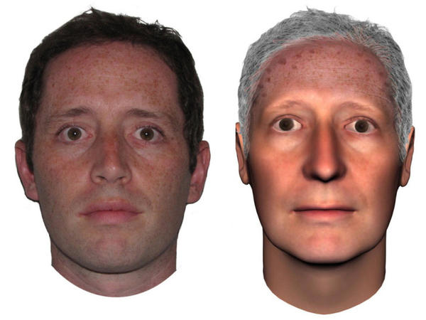 Professor Hal Hershfield (left), 32, uses a computer program to get an idea of what he might look like at 70 (right).