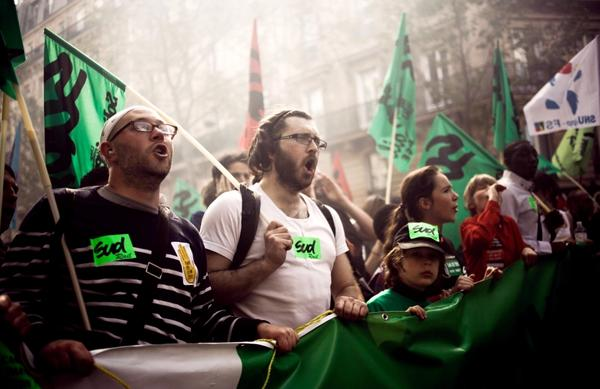 Tens of thousands of people in Paris used the annual May Day workers' events this year to denounce the world of finance amid the Europe-wide debt crisis. If elected, France's Socialist presidential challenger, Francois Hollande, says he will pursue a growth-oriented strategy.