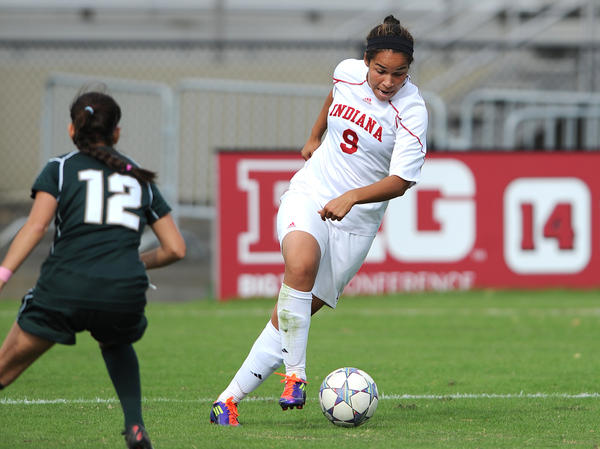 Orianica Velasquez leads Indiana against Michigan State on Oct. 16, 2011. This summer, she hopes to lead Colombia's national team to an Olympic medal.