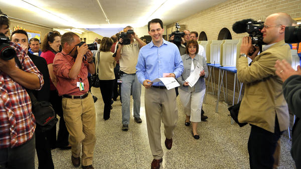 Wisconsin Gov. Scott Walker,  after voting Tuesday in Wauwatosa, Wis., in the state's gubernatorial recall.