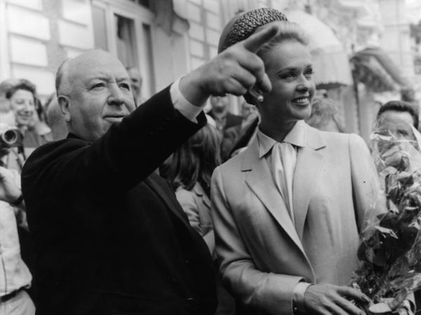 The real Alfred Hitchcock and Tippi Hedren explore Cannes together after the premiere of <em>The Birds</em> in 1963.