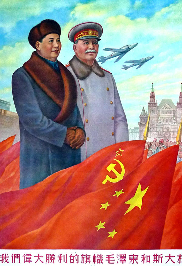 Mao Zedong and Joseph Stalin. 1951