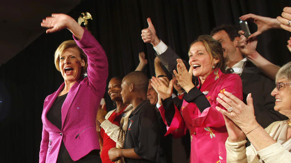 U.S. Rep. Tammy Baldwin, D-Wis., celebrates her victory over Republican Tommy Thompson on election night in Madison, Wis. With that win, Baldwin became Wisconsin's first openly gay Senator.