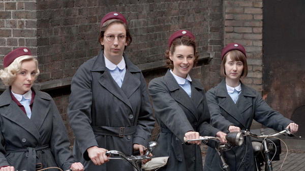 Trixie (Helen George, left), Chummy (Miranda Hart), Jenny (Jessica Raine) and Cynthia (Bryony Hannah) are midwives serving London's poor East End in the 1950s.