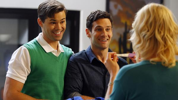 Partners Bryan (Andrew Rannells) and David (Justin Bartha) decide to use a surrogate to expand their family in <em>The New Normal</em>.