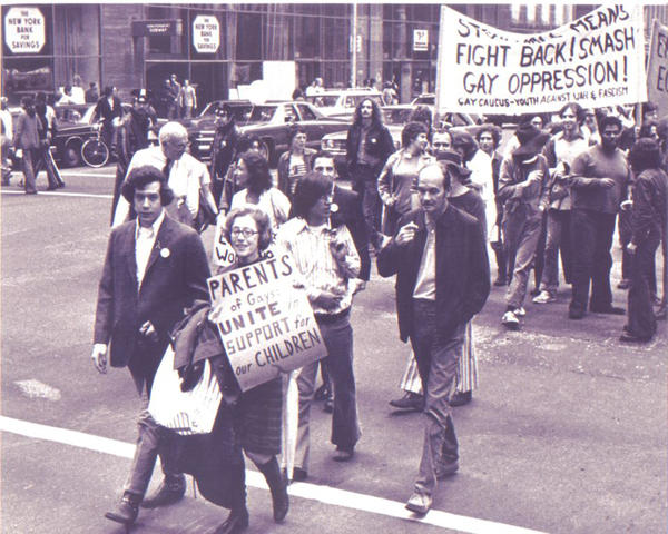 Manford marches with Morty in what would become New York City's gay pride march, in 1972.